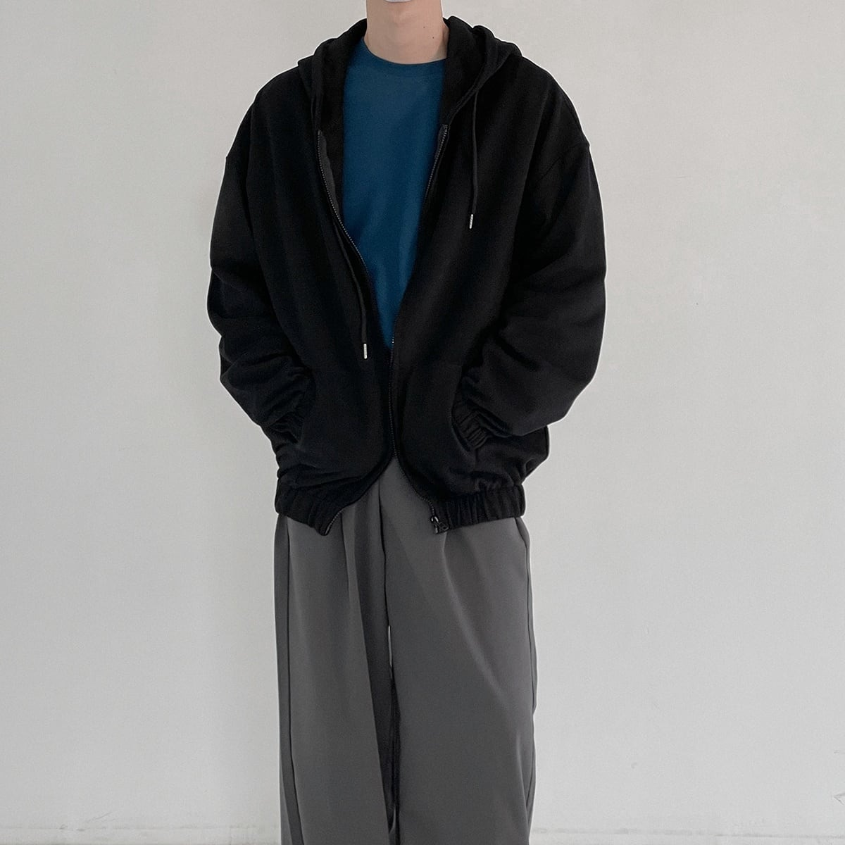 Elastic drop sleeve hoodie   b-458