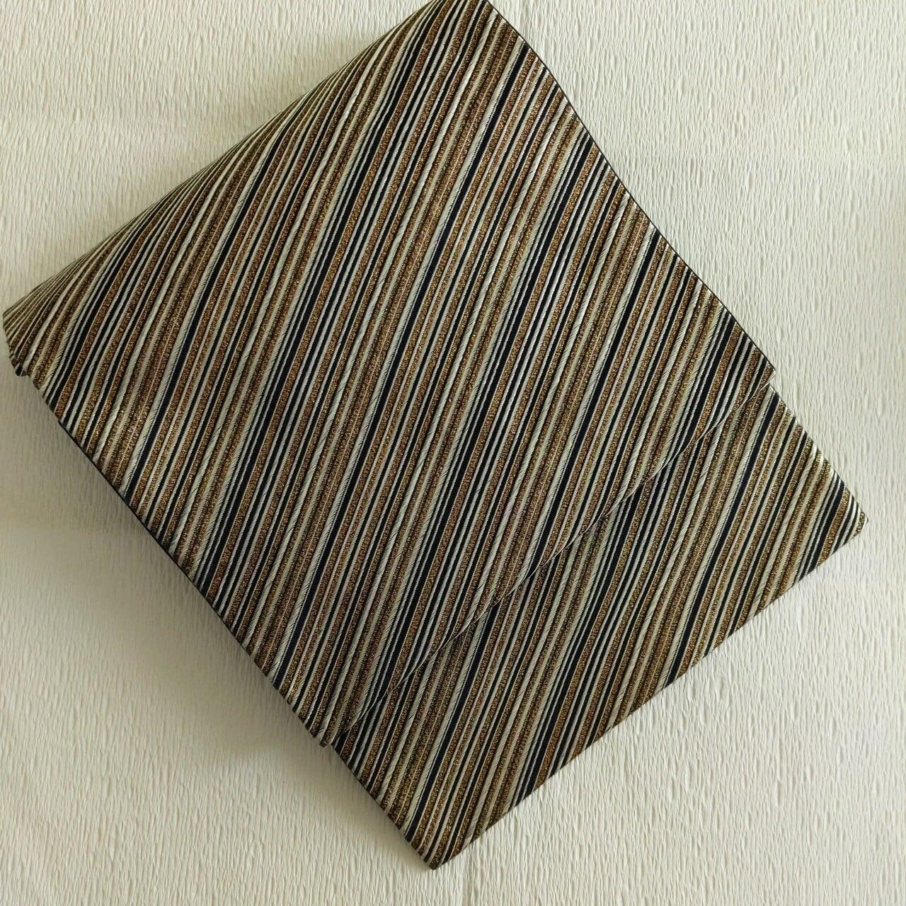 【COOL】袋帯 全通 レジメンタルストライプ 黒×銀×金 裏地2色使い