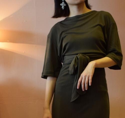 Short sleeves  Rib jersey long dress