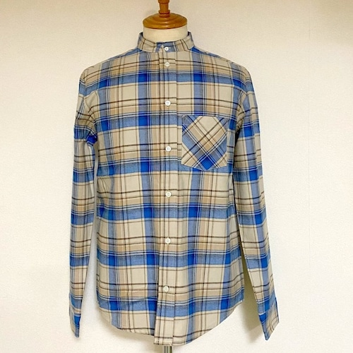 Stand Collar Check Shirts Light Beige