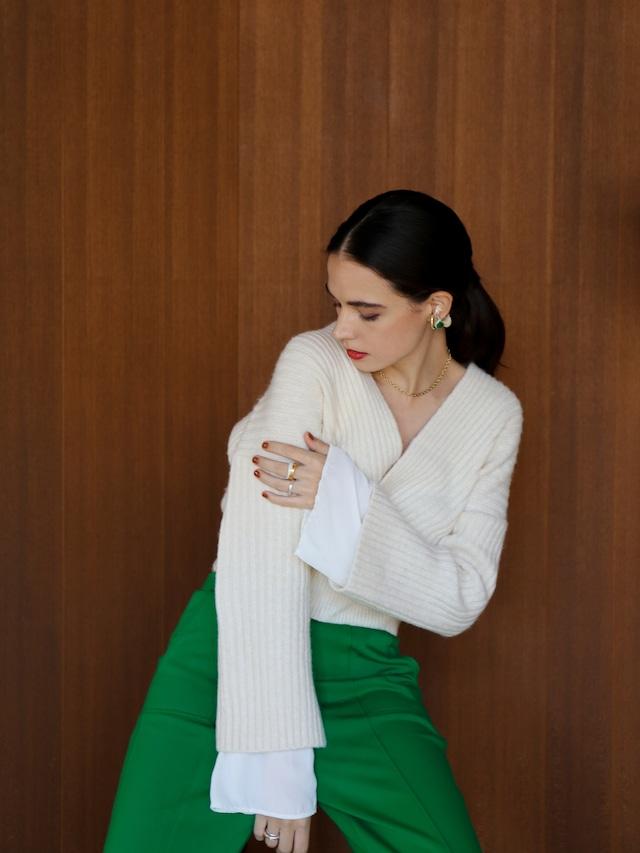chiffon sleeve knit(ivory)