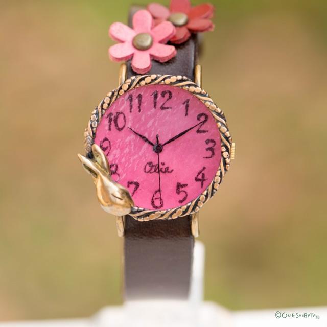 夢みるうさぎ腕時計Mチェリー