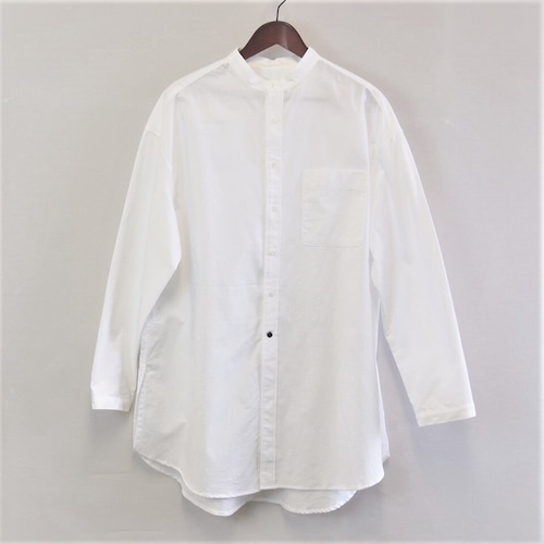 <OSOCU>知多木綿 知多晒 真っ白な バンドカラー ロングシャツ サイドスリットデザイン