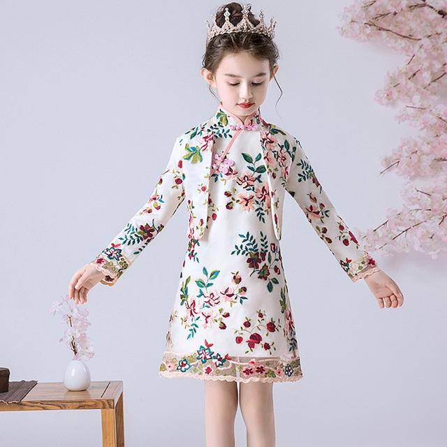 子どもドレス キッズドレス 2点セットアップ チャイナ風ドレス 子供服 女の子 ジュニア スタンドネック ノースリーブ ワンピース 刺繍 長袖 ジャケット 演奏会 発表会 110cm 120cm 130cm 140cm 150cm