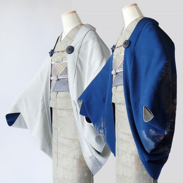 リバーシブルモモンガKIMONO羽織(牛車花風景色留袖と縞柄)色留袖着物リメイク
