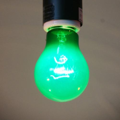 E26 40W 透明カラーランプ グリーン(白熱電球)※電球のみ