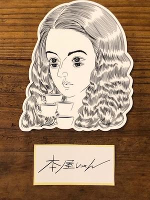 【GOODS】caffeine love-longhair girlステッカー 牛木匡憲/Masanori Ushiki