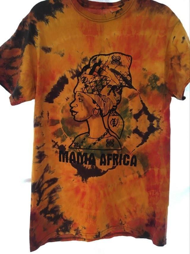 ガーナの手染めTシャツ【S】 MAMA AFRICA-⑤