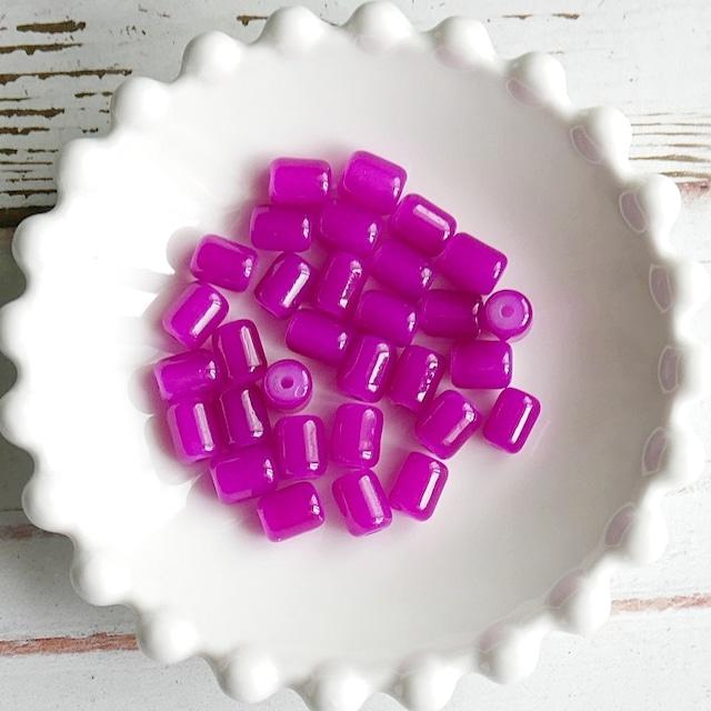 【442b-p1】10pcs  カラフルガラスビーズ ピンク 9×6mm