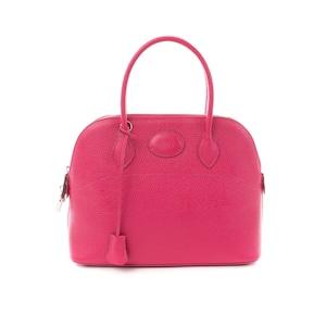 ブガッティ型 ラウンドファスナーレザーバッグ/Mサイズ 31cm/ピンク