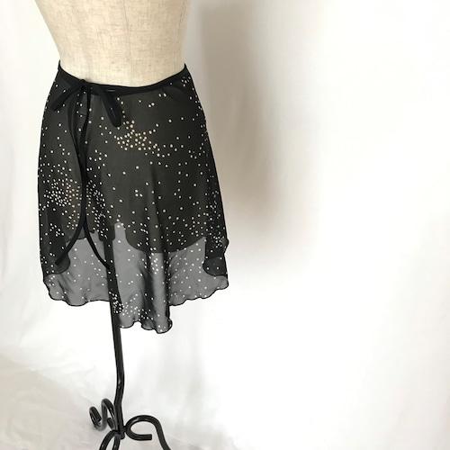 """❖""""Fiorina"""" Ballet Wrap Skirt  -   Snowflake Dots [Sheer]( スノウフレイク・ドット(黒×オフ白)[シアー])"""