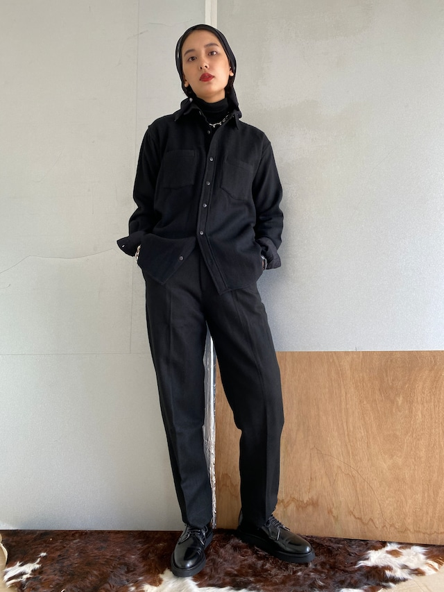 "Unisex long sleeve shirt ""black"" khadi wool"