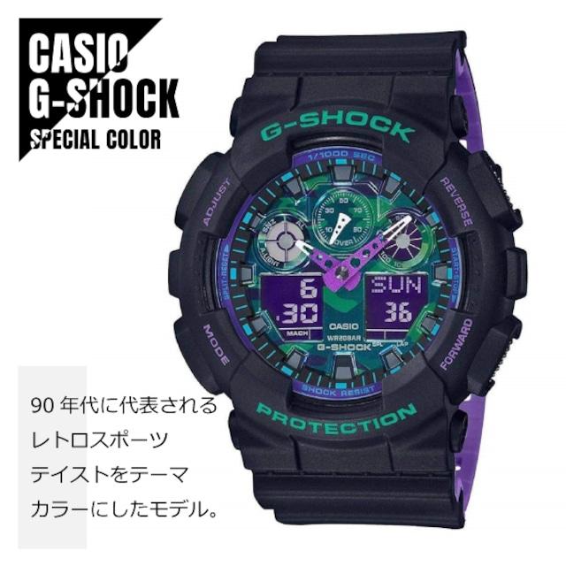 【即納】CASIO カシオ 腕時計 G-SHOCK Gショック レトロスポーツテイストをテーマカラー GA-100BL-1A 腕時計 メンズ