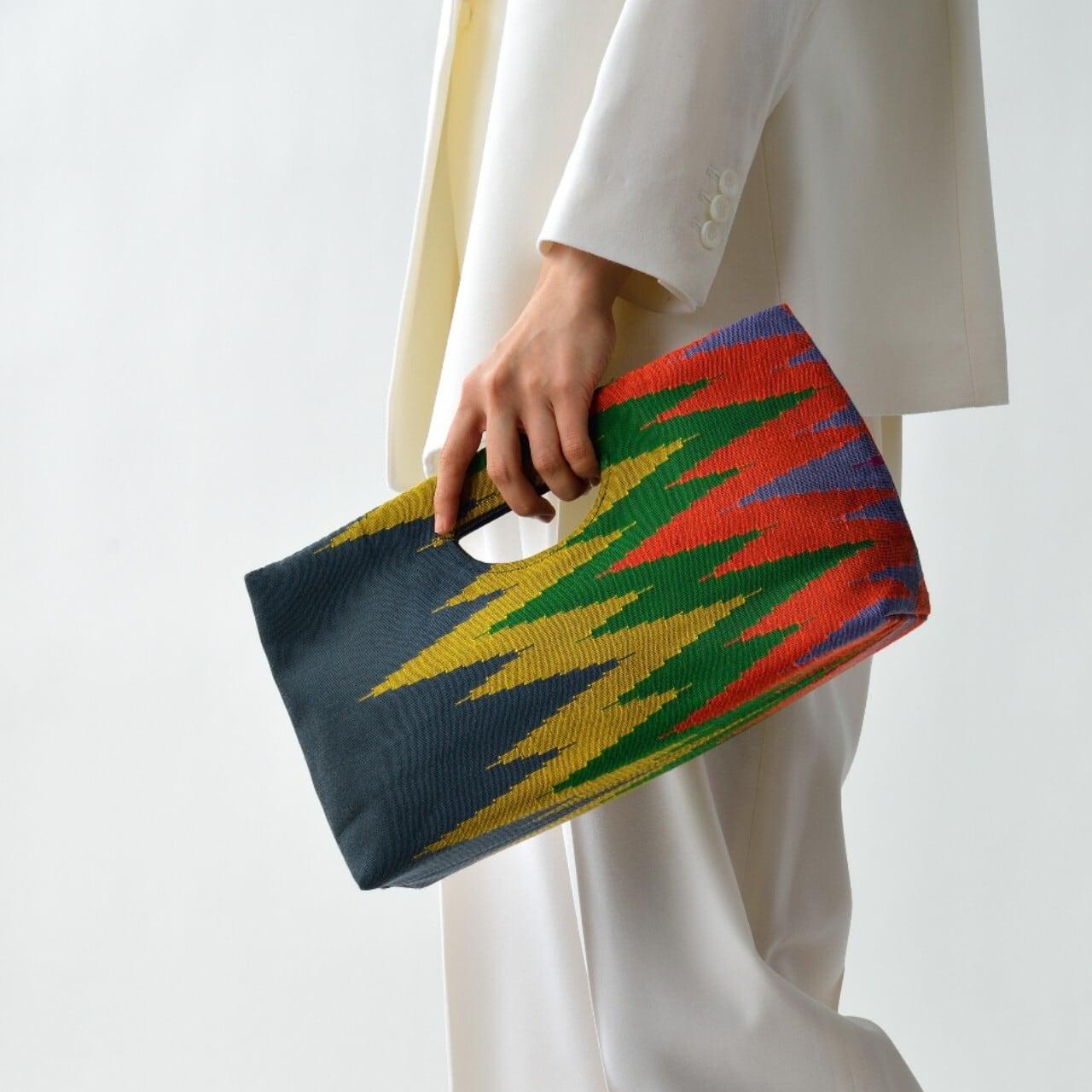 手織りペンシルバッグ グレー×カラフル(新入荷)