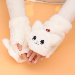 手袋 かわいい レディース 冬 猫 ネコ柄 ファー あったか 防寒5105