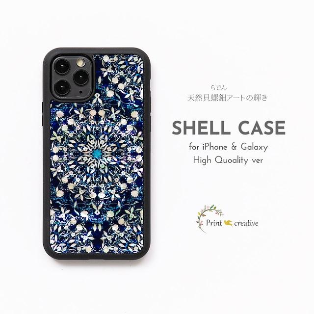 【iPhone13対応】天然貝シェル★フラワーファンタジー・ディープ(iPhone/Galaxyハイクオリティケース)|螺鈿アート