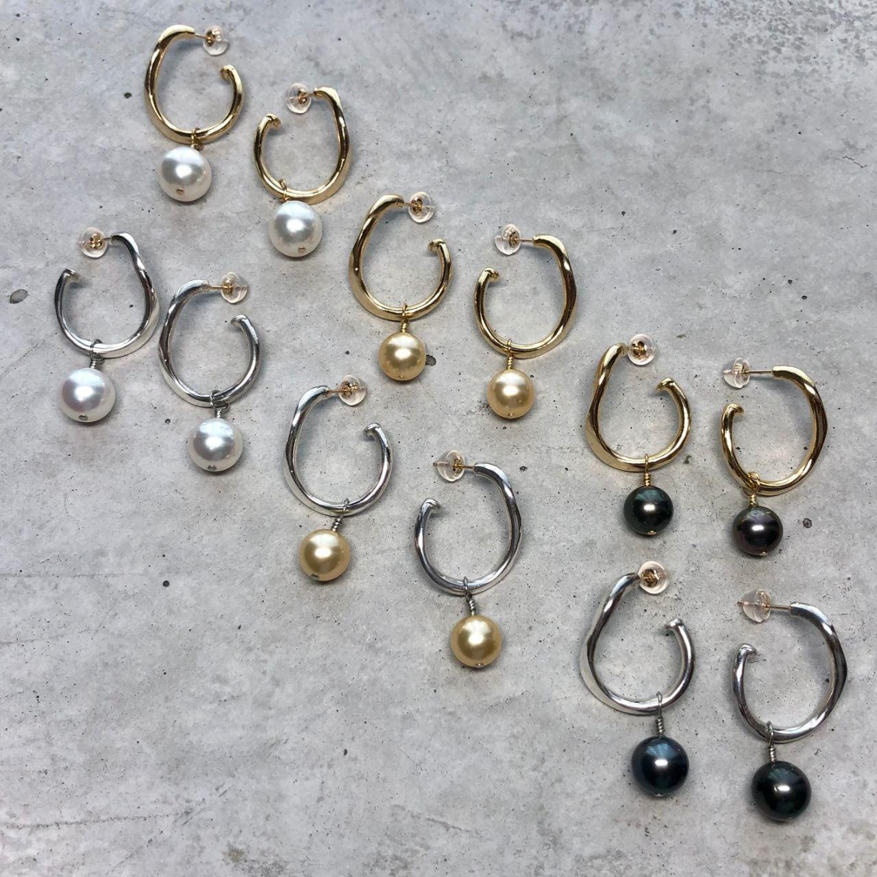 【LP-49SV】Two way South sea pearl pierced  white gold black