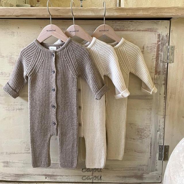 «先行予約割引»«baby» monbebe rib knit rompers 3colors リブニットロンパース
