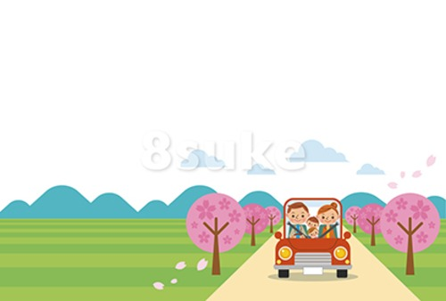 イラスト素材:ドライブを楽しむ家族/春・ヨコ・白バック(ベクター・JPG)