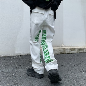 【ボトムス】「単品注文」ストリート系刺繍英字図柄デニムパンツ+長袖プリントTシャツ49934166