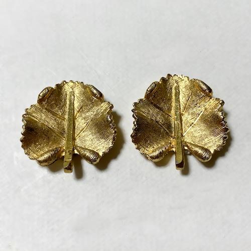Vintage BSK Gold Tone Metal Leaf Shaped Earrings