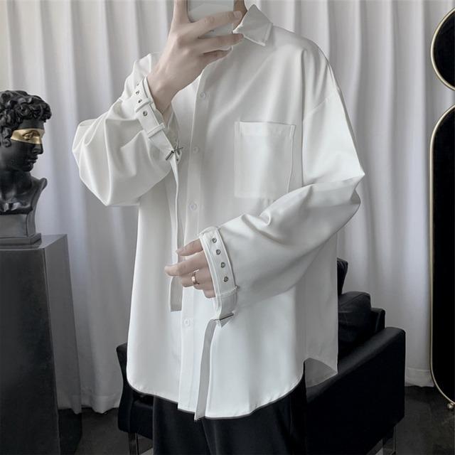 【トップス】ファッション長袖バンド飾り無地シャツ42895841