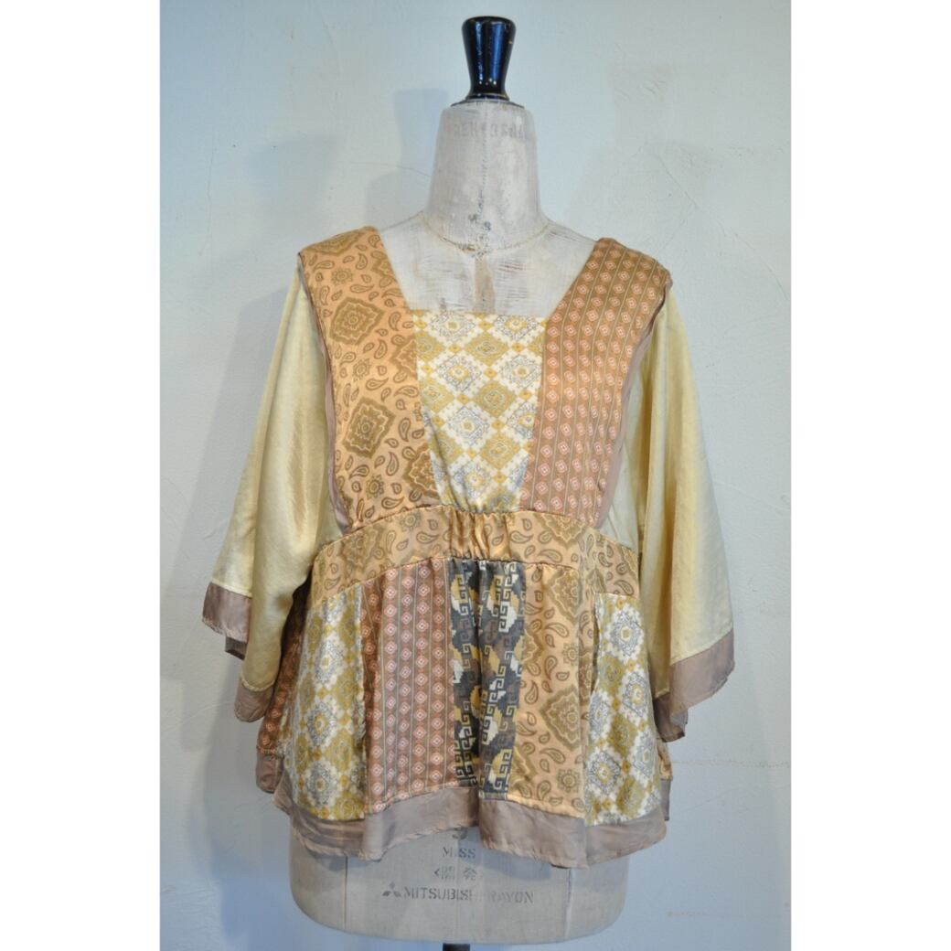 【RehersalL】 pajamas patch square neck blouse(morning) /【リハーズオール】パジャマ パッチスクエアネックブラウス(モーニング)