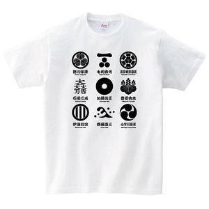 家紋 Tシャツメンズ レディース 半袖 戦国武将 大河 ゆったり おしゃれ トップス 白 40代 50代 ペアルック プレゼント 大きいサイズ 綿100% 160 S M L XL
