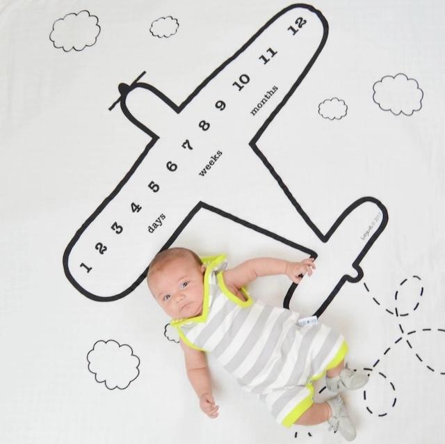 商品番号518 ベビーフォトブランケット ガーゼ素材 飛行機