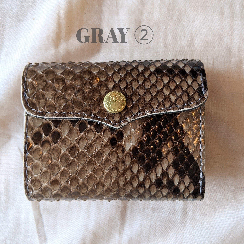 GRAY②【 saranam 】サラナン パイソンレザー 三つ折り財布 /python ミニ財布