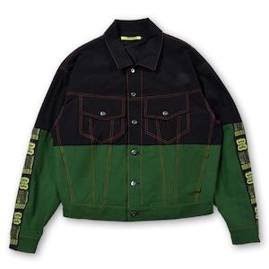 T.C.R EQUIPMENT TRUCKER JACKET V2 - BLACK/GREEN