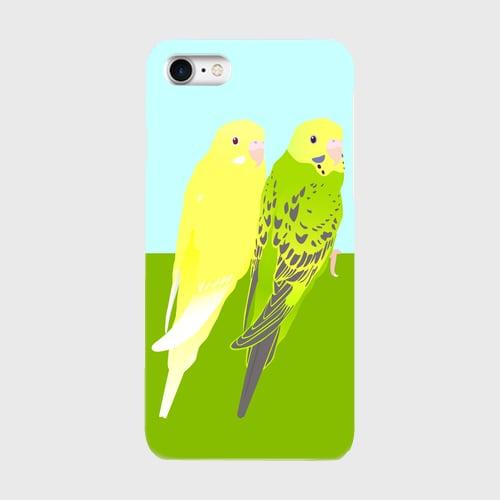 iPhoneケース セキセイインコ オパーリンモスグリーン&ルチノー【各機種対応】