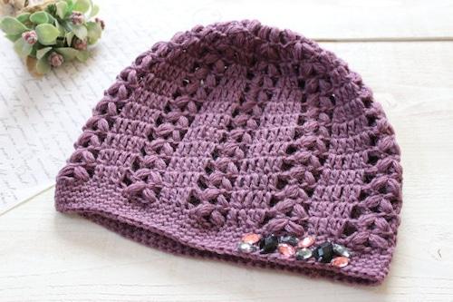 手編みニット帽*パープル アクリルビジュー/sakura 型番:NB-3