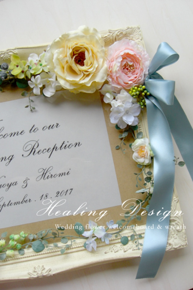 ウェディング ウェルカムボード大(アンティークホワイトフレーム&ピンク&ブルー)結婚式