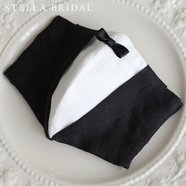 【受注生産品】国産リネンのブライダルマスク タキシードデザイン グルームマスク
