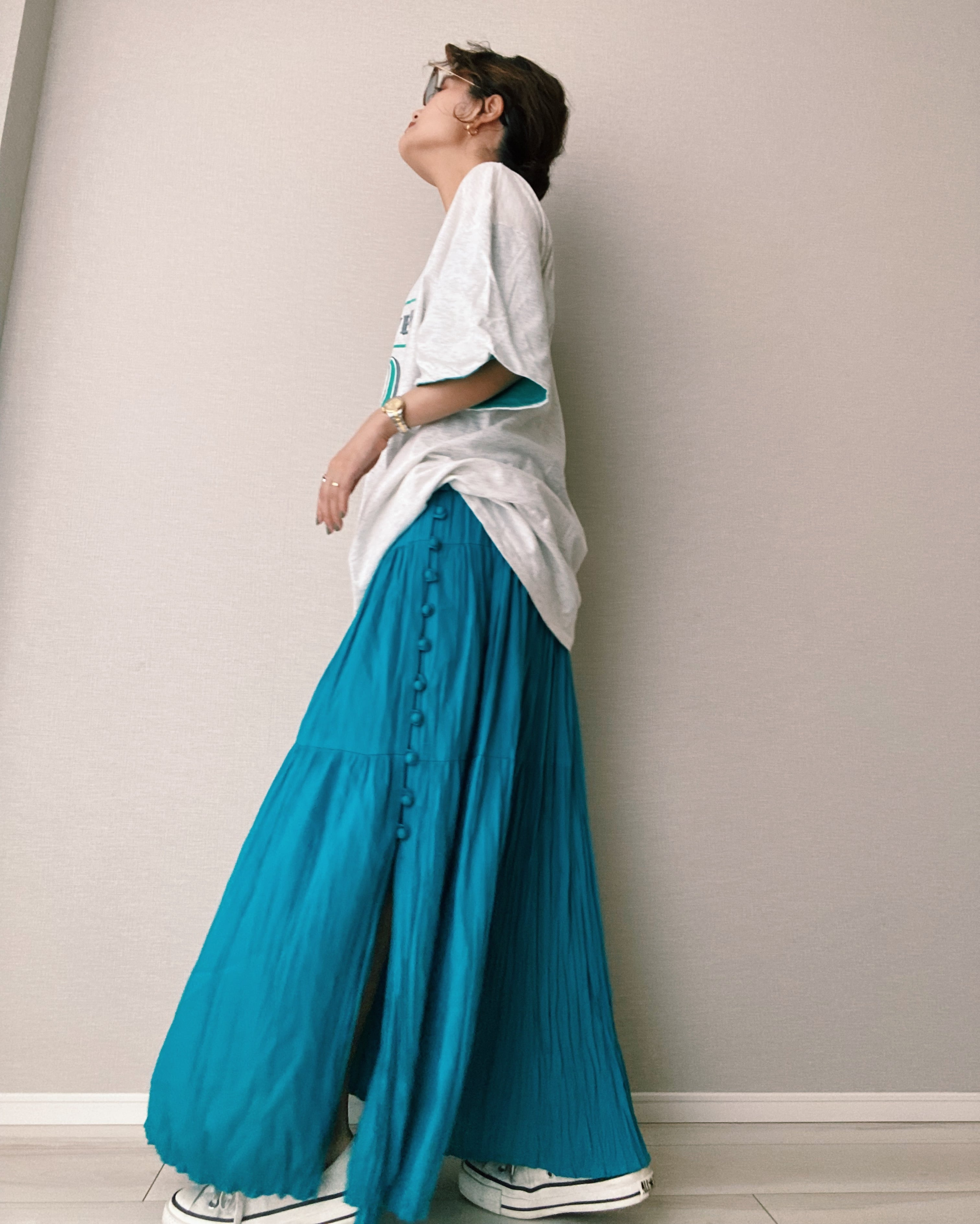 (SK018)Side button gather skirt made in USA