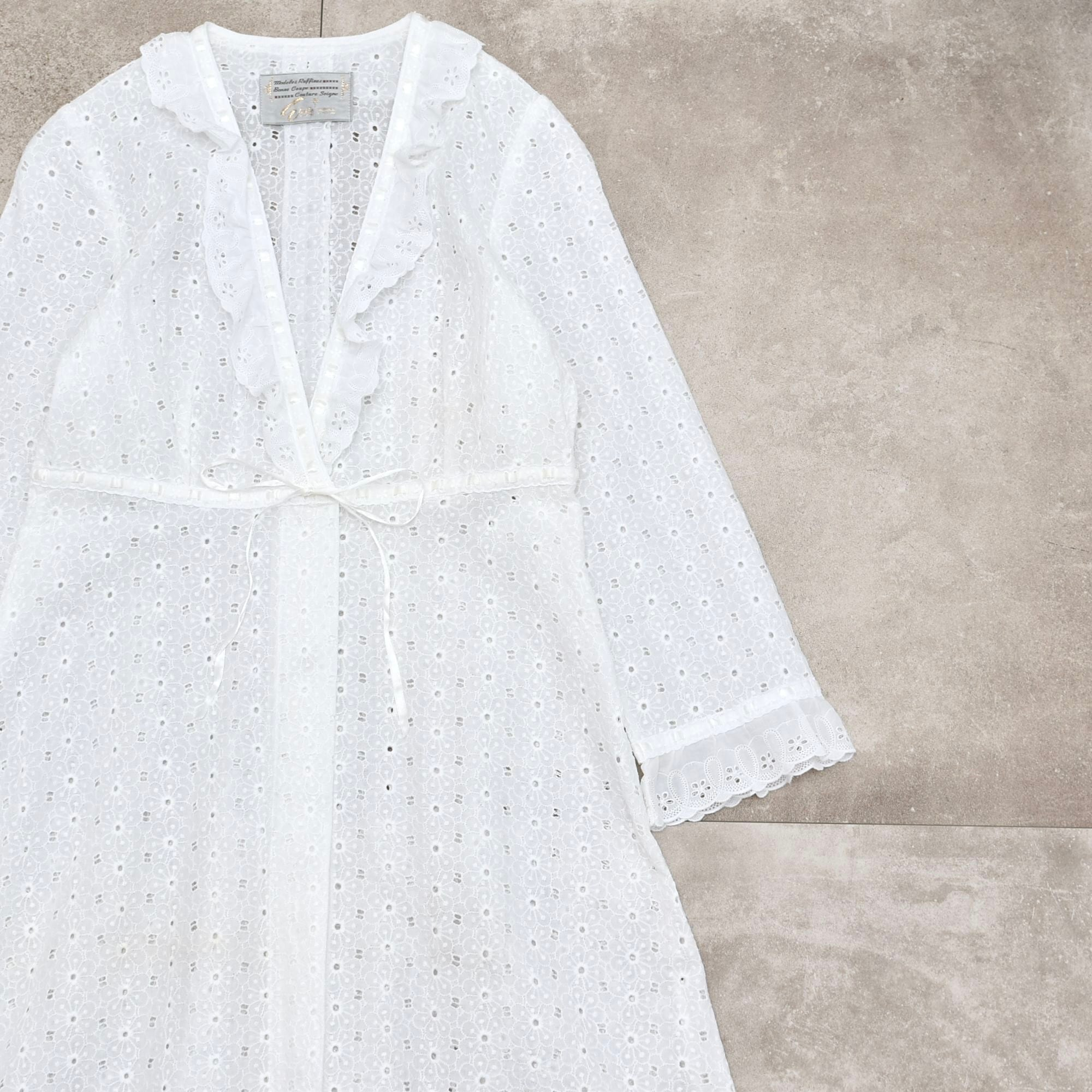 Flower all overlace robe one piece