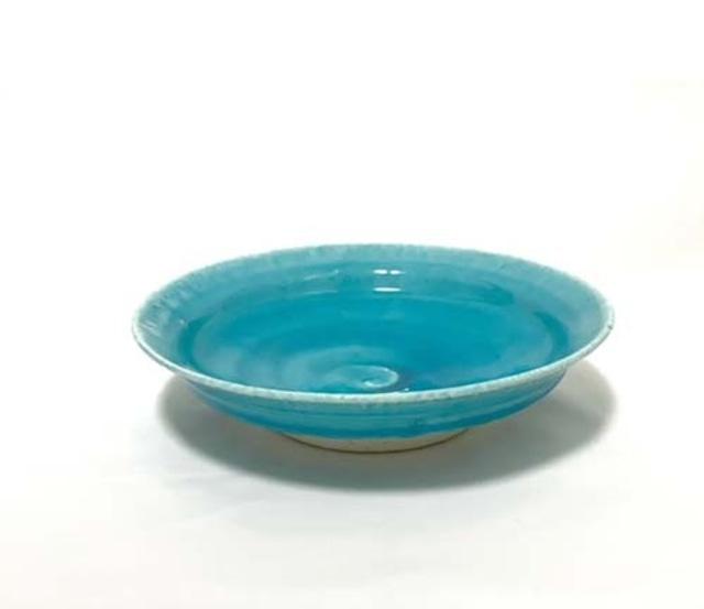 荒木漢一 トルコブルー7寸皿 和食器
