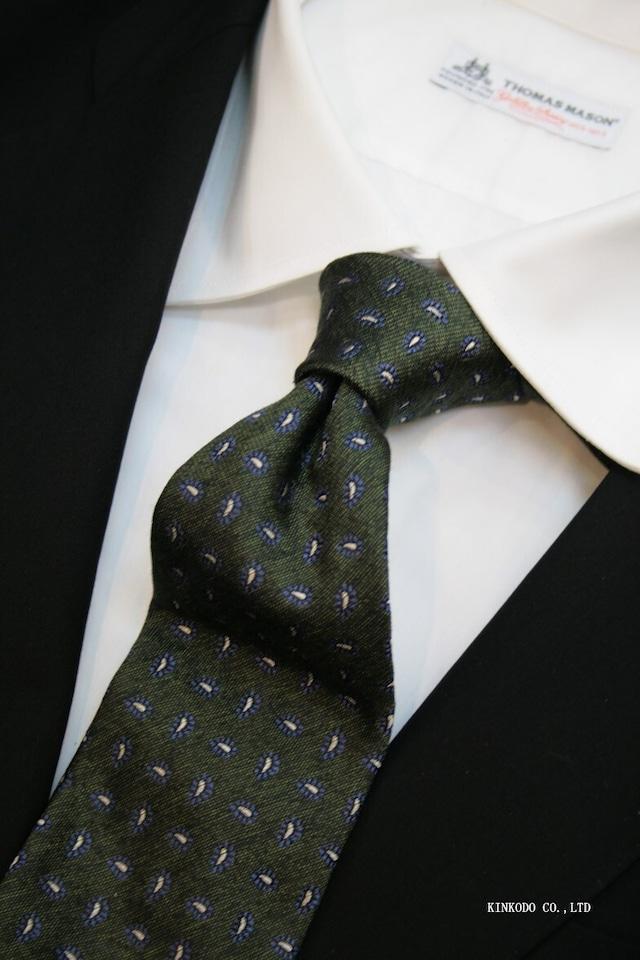 グリーンのペイズリータイ セッテピエゲ(七つ折り)のクラッシク仕立て、ALBENIアルベニ イタリー製