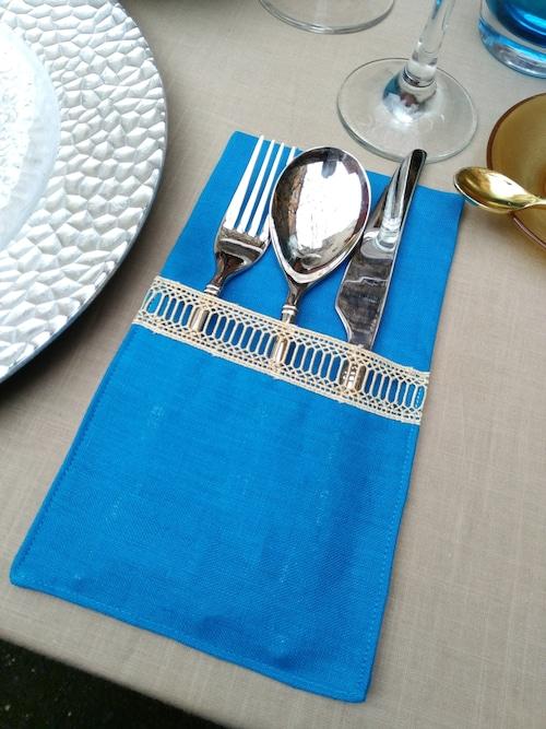 Curtlery Pocket Line Lace Turkish Blue 6pieces カトラリーポケットラインレース ターキッシュブルー6点セット