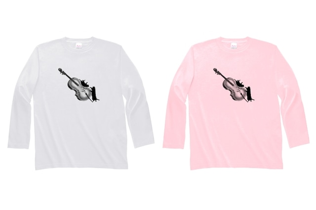 チェロと黒猫の長袖Tシャツ