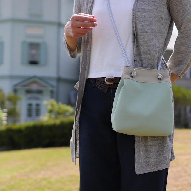 【ピクニックショルダー】ミントベース 北欧×富士金梅・帆布ショルダーバッグ