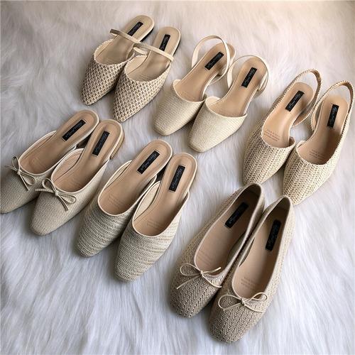 選べる6パターン 藤草編み サンダル 韓国ファッション スリッパ スリッポン パンプス レディース DCT-588880297872