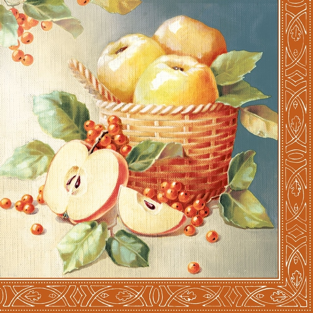 【Nouveau】バラ売り2枚 ランチサイズ ペーパーナプキン Apple Picking レッド