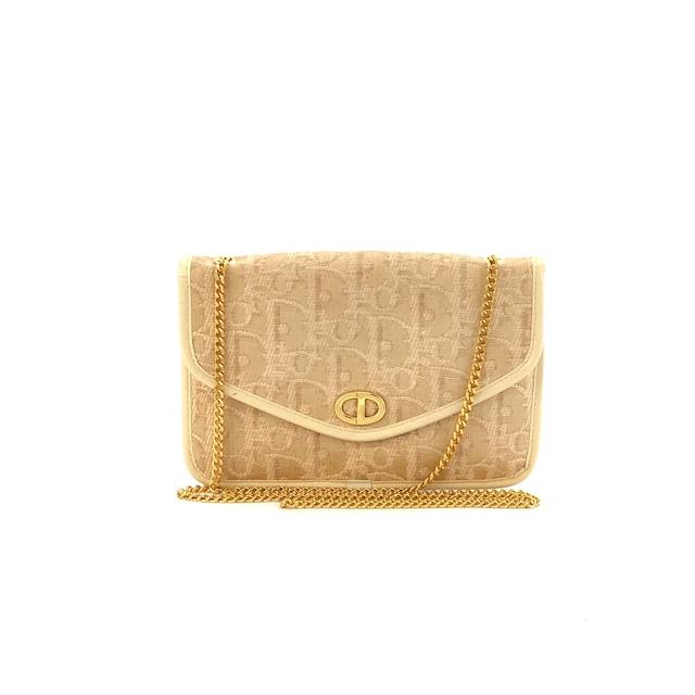 Christian Dior ディオール トロッター CD 2WAY チェーン ポシェット ショルダーバッグ ミニバッグ ベージュ 6p2ed8