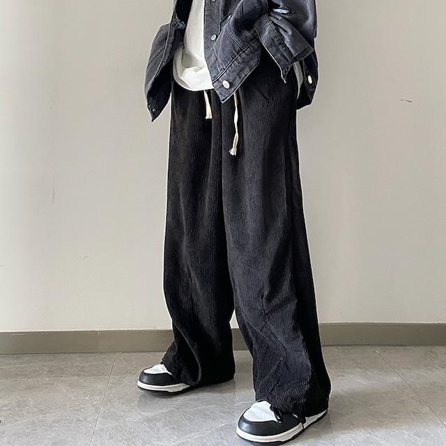 【メンズファッション】スタイリッシュ ビンテージスタイル ゆったりタイプ メンズファッション 53914906コーデュロイ ワイドパンツ