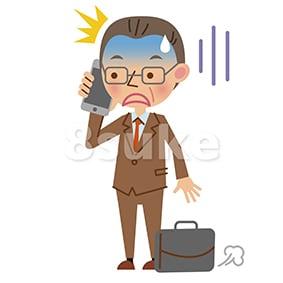 イラスト素材:スマートフォンで通話する中年のビジネスマン/ショックをうけた表情(ベクター・JPG)