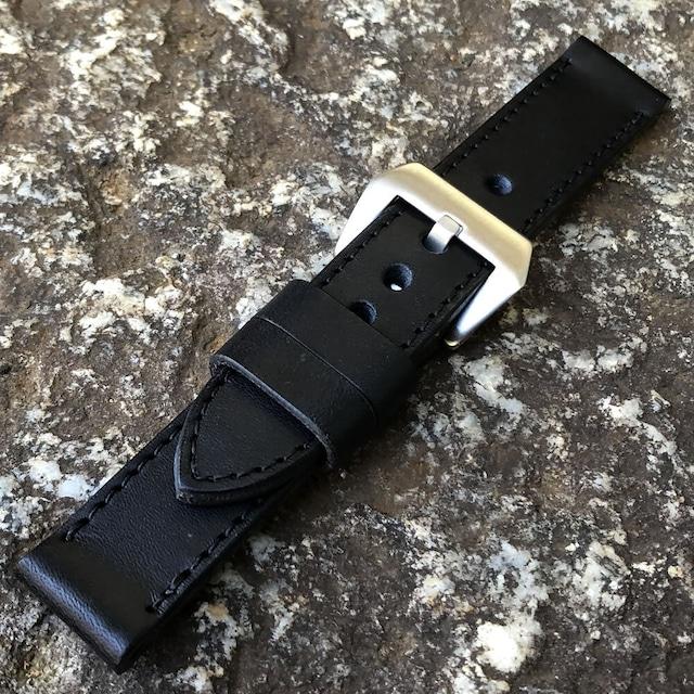 【ラグ幅:22MM/24MM/26MM対応】日本製 ハンドメイド パネライ スタイル バケッタオイルレザー ヌメ革/イタリアンレザーベルト ブラックステッチ バックル付き 腕時計 替えベルト SP-H002BI-BKBK LEVEL7