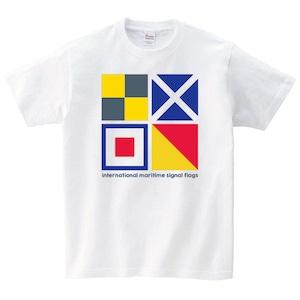 海 信号旗 Tシャツ メンズ レディース 半袖 ゆったり おしゃれ トップス 白 30代 40代 ペアルック プレゼント 大きいサイズ 綿100% 160 S M L XL