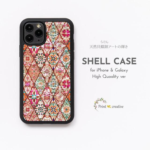 【iPhone13対応】天然貝シェル★パステルピンクモロッコタイル(iPhone/Galaxyハイクオリティケース)|螺鈿アート